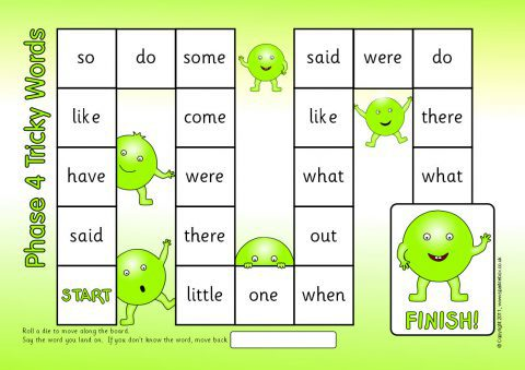 Phases 2 5 Tricky Words Board Game Sb6979 Sparklebox