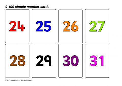Simple 0-100 Number Cards (Coloured Numbers) (SB8923 ...