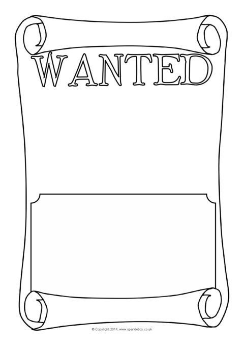 blank wanted poster writing frames  sb10529