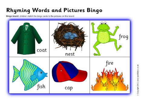 image regarding Printable Rhyming Games identified as Rhyming Phrases and Illustrations or photos Bingo (SB837) - SparkleBox