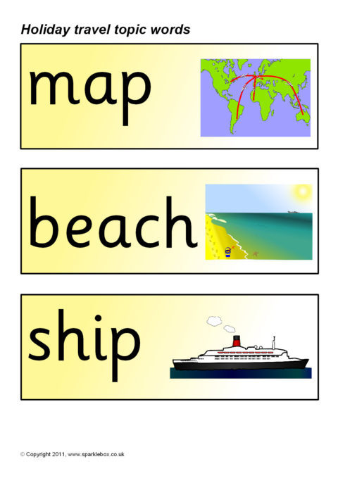 holiday travel topic word cards
