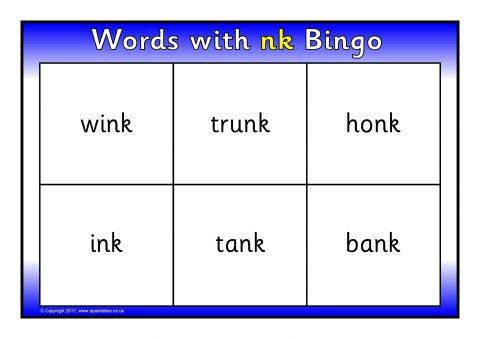 Words with 'nk' Bingo (SB11850) - SparkleBox