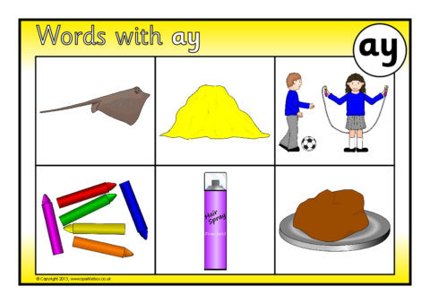 Words with ay Bingo (SB9659) - SparkleBox