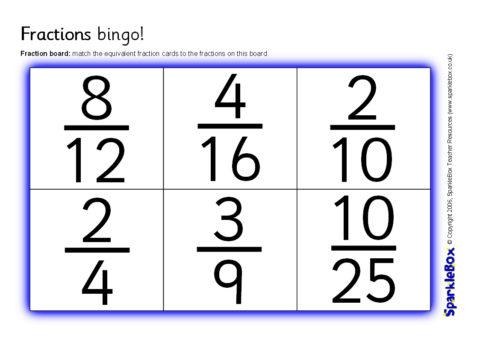 graphic relating to Fraction Bingo Printable named Comparable Fractions Bingo (SB6742) - SparkleBox