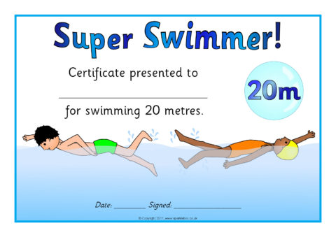 Swimming Distance Certificates (SB5328) - SparkleBox