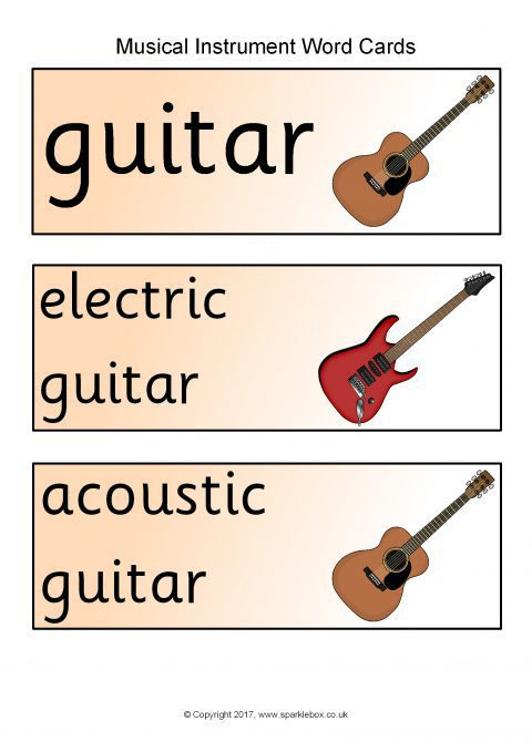 Musical Instrument Topic Word Cards
