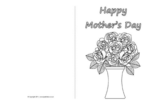 photo relating to Printable Mothers Day Cards to Colour in identified as Moms Working day Card Colouring Templates (SB4359) - SparkleBox
