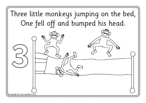 Related items for Five little monkeys jumping on the bed coloring pages