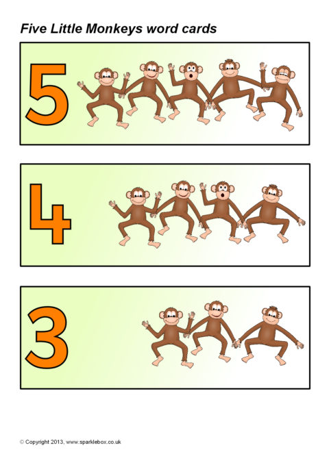 Five Little Monkeys Jumping On The Bed Word Cards