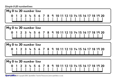 picture about Printable Number Line 0 20 identified as Straightforward 0-20 Selection Traces (SB2579) - SparkleBox