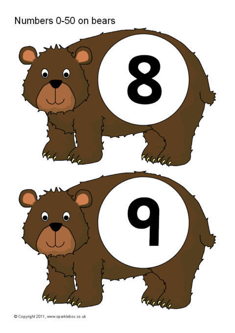 Numbers 0 50 On Brown Bears Sb4337 Sparklebox