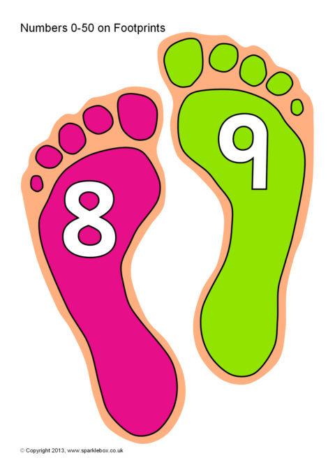 Numbers 0 50 On Footprints