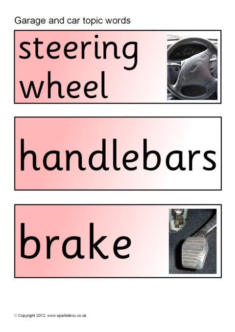 garage  car topic word cards  sb199