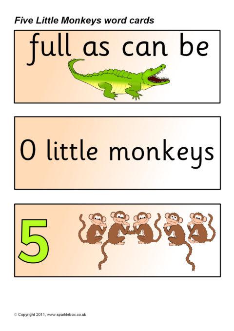 five little monkeys word cards  sb5165