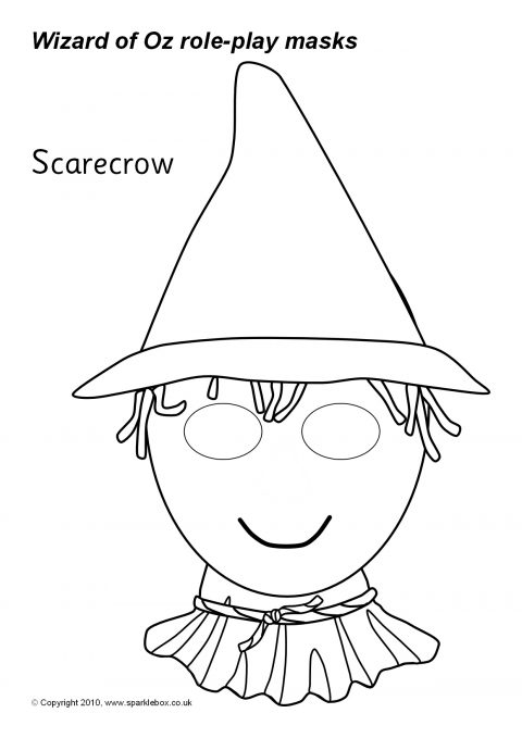 8x11 girl scarecrow coloring pages | Paper Scarecrow Hat Template Sketch Coloring Page
