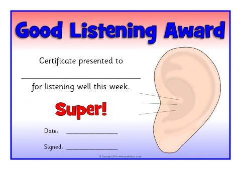 Good Listening Award Certificates (SB10210) - SparkleBox