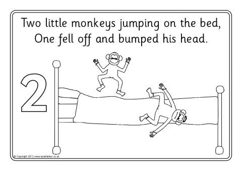 preview - Coloring Pages Monkeys Jumping Bed