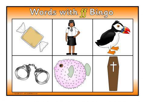 Words with ff Bingo (SB11826) - SparkleBox