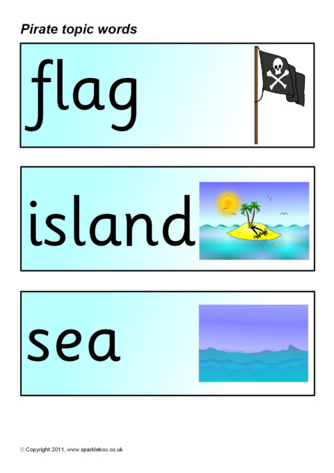 Pirate Topic Word Cards Sb194 Sparklebox