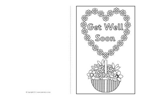 photo regarding Get Well Soon Card Printable called Receive Very well Shortly Card Colouring Templates (SB8890) - SparkleBox