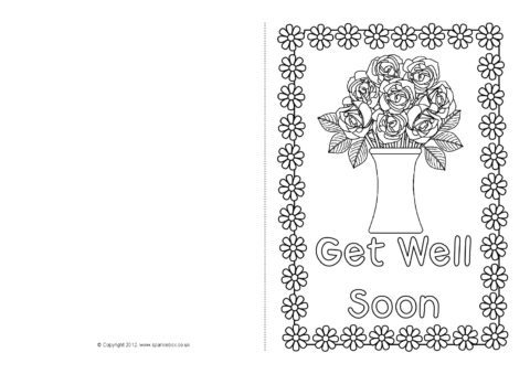 graphic relating to Get Well Soon Card Printable named Obtain Effectively Quickly Card Colouring Templates (SB8890) - SparkleBox