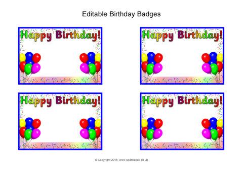 Editable Birthday Badges Sb12474 Sparklebox