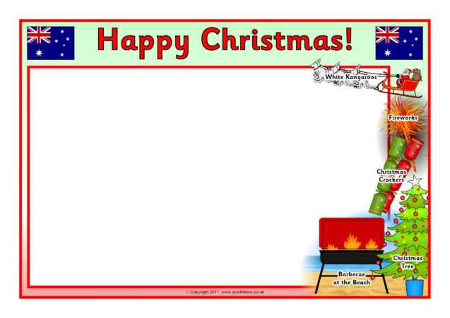 christmas in australia a4 page borders  sb12281