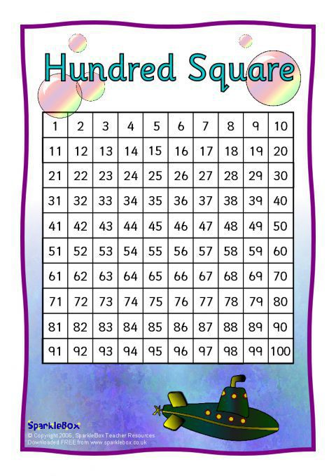 Hundred Square Sheets Sb326 Sparklebox