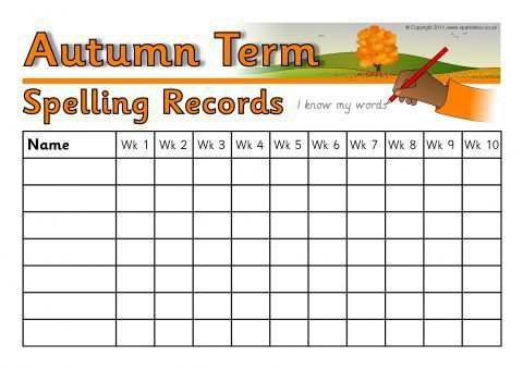 termly class spelling record wall charts. Black Bedroom Furniture Sets. Home Design Ideas