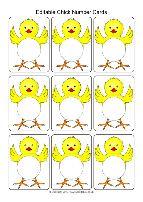 Editable chick number cards template sb12492 sparklebox for Sparklebox postcard template