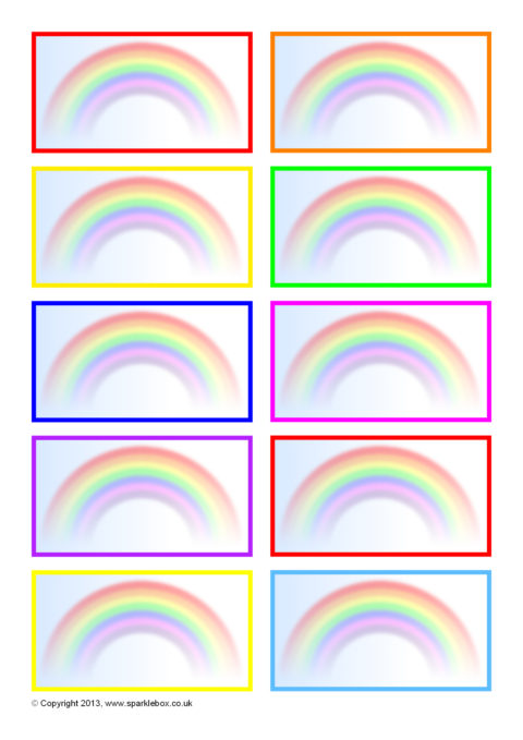 Rainbow-Themed Editable Peg Labels (SB9385) - SparkleBox