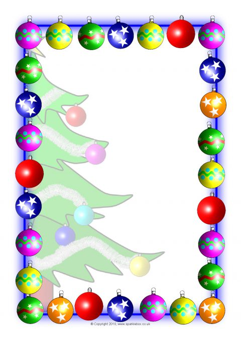 graphic relating to Printable Christmas Borders named Xmas A4 Portrait Site Borders 2 (SB3524) - SparkleBox