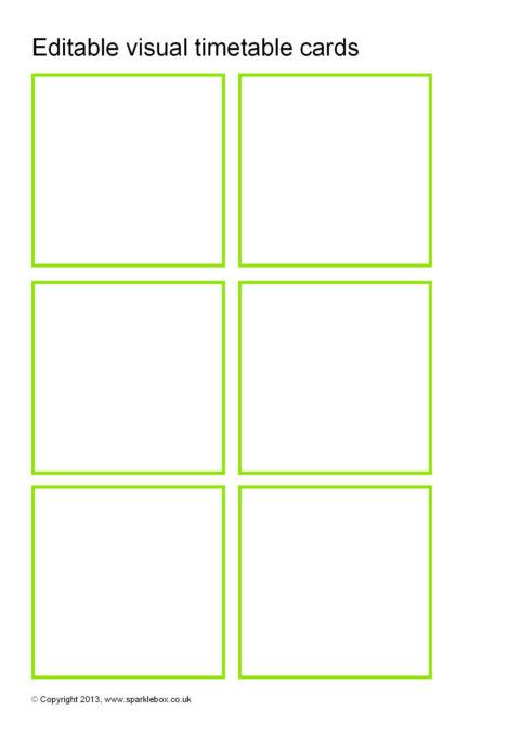 editable visual timetable card templates  sb9169