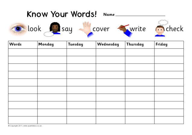 editable weekly spelling practice charts
