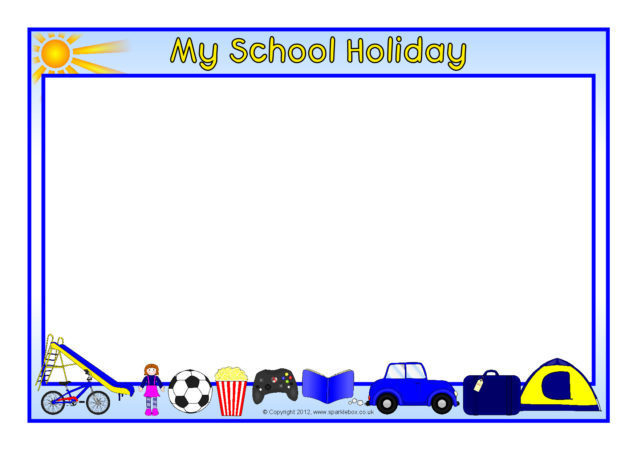 my school holiday a4 page borders  sb7743