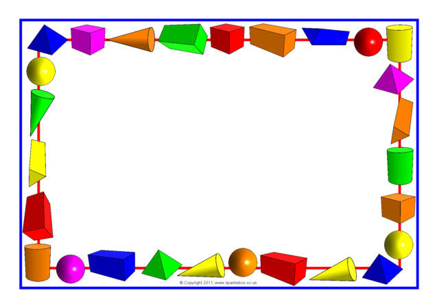 3D Shapes A4 Page Borders (SB6435)