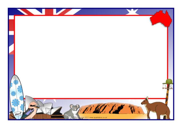 australia-themed a4 page borders  sb5252