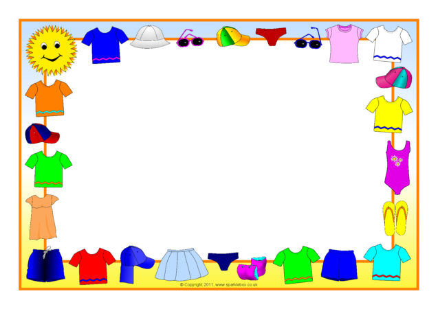 summer clothes a4 page borders  sb4815
