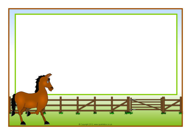 horse-themed a4 page borders  sb7326