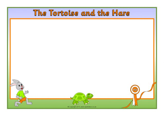 the tortoise and the hare a4 page borders  sb11256