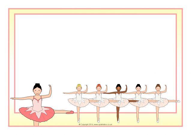 ballerina-themed a4 page borders  sb10635