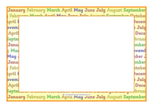 months of the year a4 page borders  sb9638