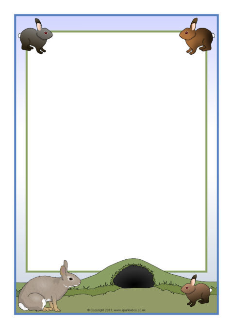 rabbit-themed a4 page borders  sb5635