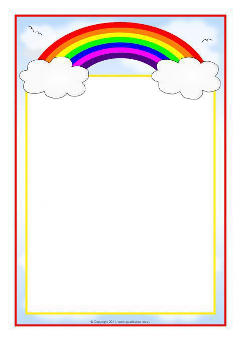 Rainbow Themed A4 Page Borders Sb7475 Sparklebox