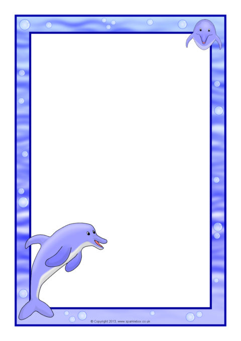dolphin a4 page borders  sb9765