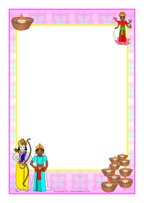 diwali-themed a4 page borders  sb5801