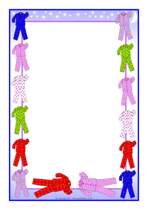 pyjamas-themed a4 page borders  sb5120