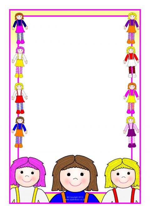 dolls a4 page borders  sb8122