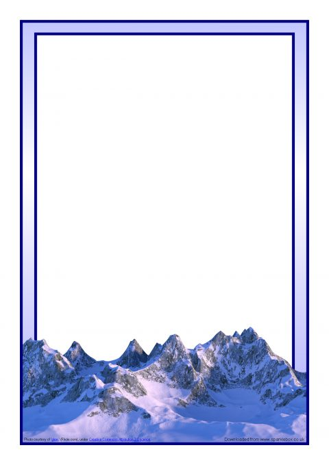 mountains-themed a4 page borders  sb9548