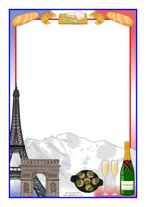 france themed a4 page borders sb10564 sparklebox rh sparklebox co uk Poodle Silhouette Clip Art Paris France Clip Art